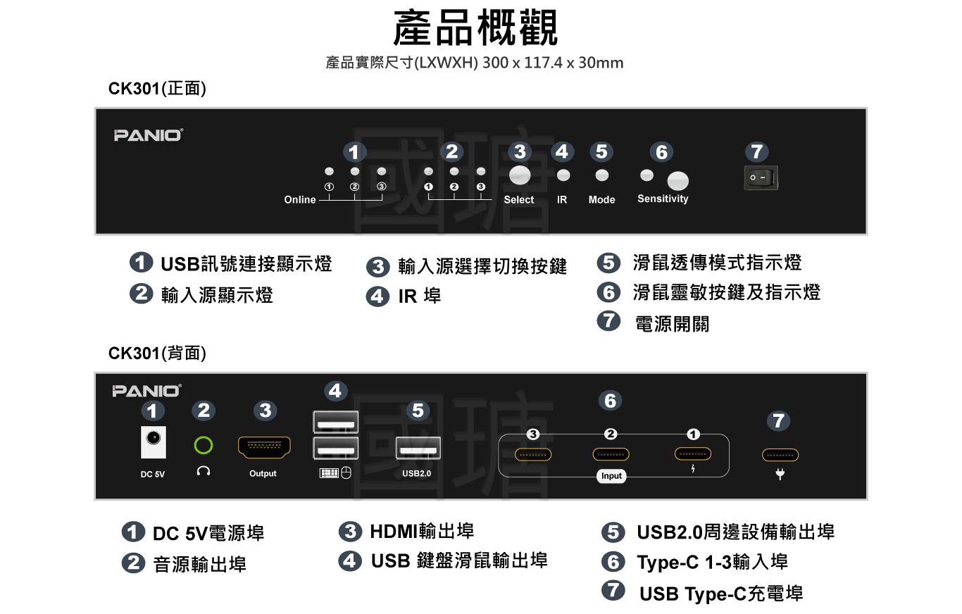 2021 Type-C+USB鍵鼠 電腦KVM延長管理器 | 台灣 PANIO國瑭