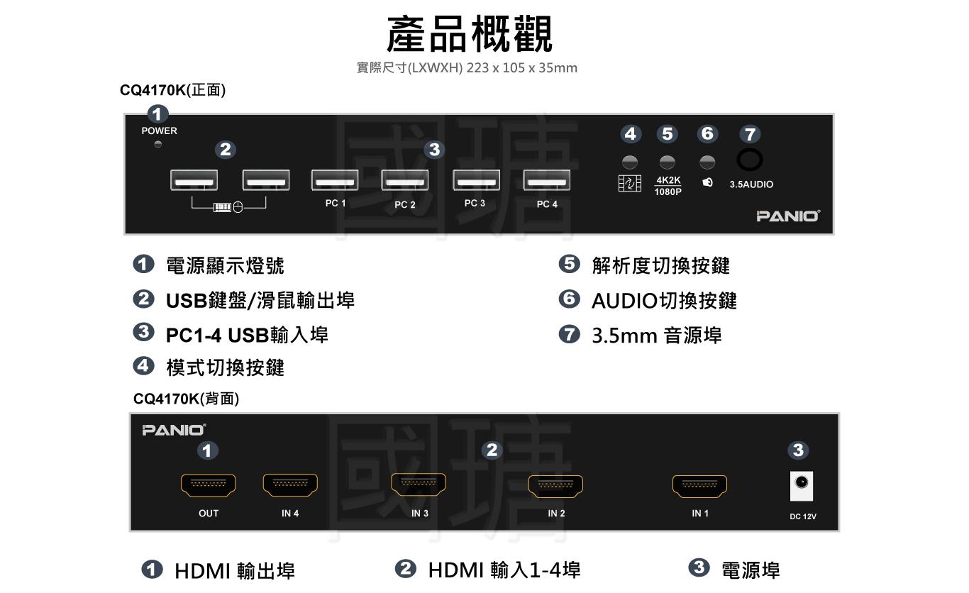 2021 4K/2K KVM多電腦切換器 4分割畫面KVM切換器